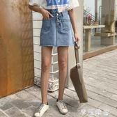 不規則高腰毛邊牛仔短裙女夏季新款韓版百搭顯瘦A字裙學生潮 摩可美家