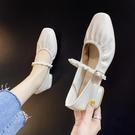 粗跟鞋 法式單鞋女2021年新款中跟粗跟淺口方頭小香風氣質晚晚風溫柔鞋子