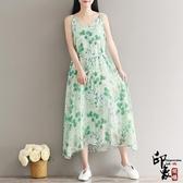 大尺碼洋裝冷薄荷文藝小清新印花無袖吊帶裙森系長裙 週年慶降價