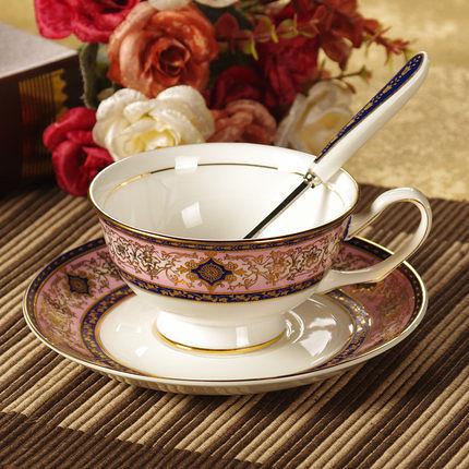 咖啡杯碟 紅茶杯 帶勺子(巴洛克---紅)