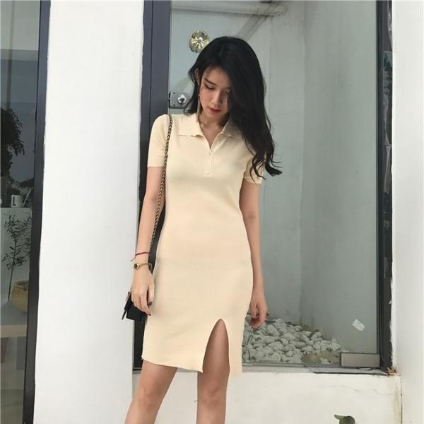 POLO領洋裝 chic中長款百搭針織開叉洋裝女春季新款韓版氣質修身顯瘦包臀裙 果果生活館