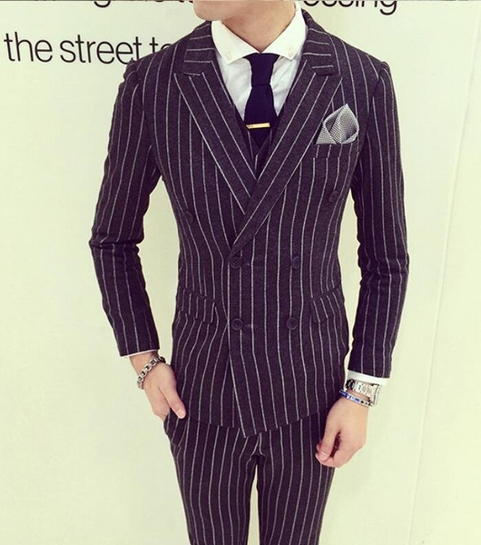 找到自己品牌 韓國男 舒適時尚條紋雙排扣 小西裝 修身西裝 西裝外套 單件外套