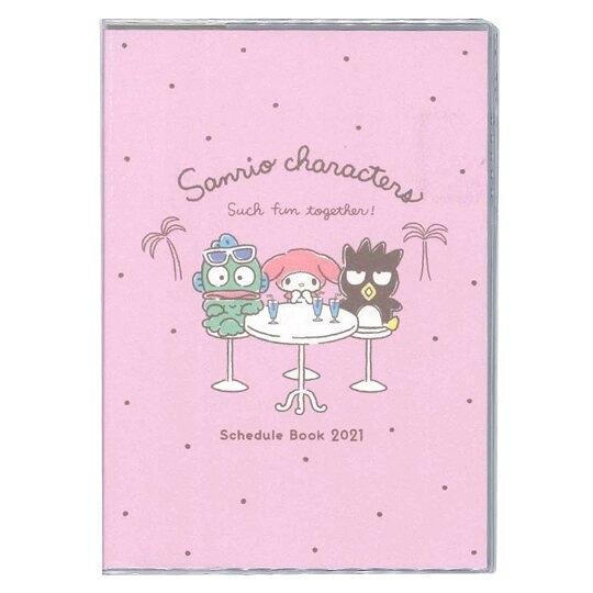 小禮堂 Sanrio大集合 日製 2021 B6行事曆 手帳 年曆 記事本 (粉 飲料桌) 4901770-62437