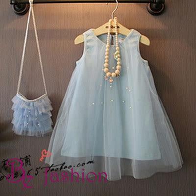 韓版-女童 釘珠背心紗裙 裙子 連衣裙 無包包 Be Fashion