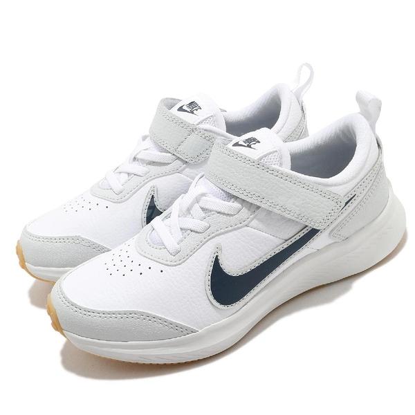 Nike 慢跑鞋 Varsity Leather PSV 白 灰 童鞋 中童鞋 基本款 運動鞋 【ACS】 CN9393-100