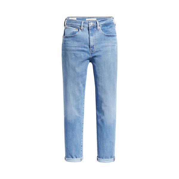 Levis 高腰男友褲 / 上寬下窄寬鬆版牛仔褲 / 輕藍染水洗 / Lyocell天絲棉