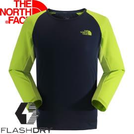 【The North Face 男款 FLASHDRY七分袖T恤 藍/綠】 NF00CZJ3/七分袖/T恤/排汗衣★滿額送