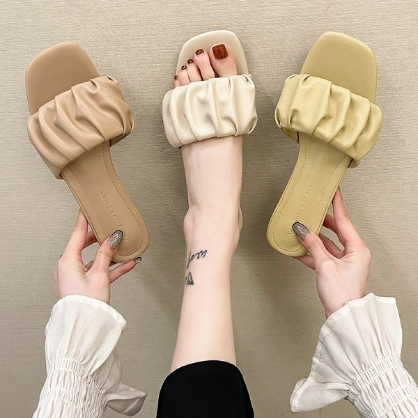 拖鞋.日系清新花苞抓皺方頭平底涼拖鞋.白鳥麗子