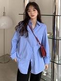 藍色條紋襯衫外套女春季秋復古港味襯衣2021新款bf風設計感上衣服 童趣屋  新品