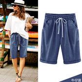 【GZ3E2】鬆緊綁帶造型口袋淺色牛仔五分褲 牛仔褲 牛仔短褲