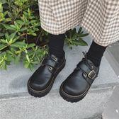 原宿圓頭洛麗塔小皮鞋厚底軟妹鞋子單鞋女鞋【不二雜貨】