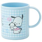 小禮堂 帕恰狗 日製 塑膠杯 單耳 兒童水杯 茶杯 漱口杯 240ml (藍 格紋) 4973307-49994