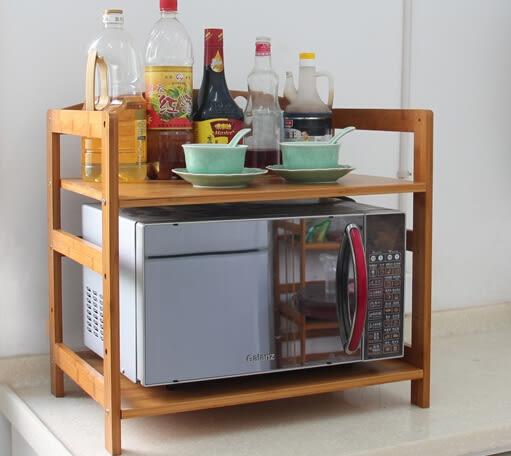 楠竹微波爐架 廚房置物架 帶門特厚實木儲物架 收納架子