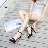 夜店凉鞋女细跟露趾防水台高跟2021夏性感恨天高T台凉鞋模特走秀 korea時尚記