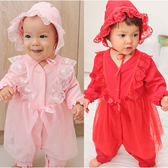 長袖連身衣 蕾絲緞帶 造型 女寶寶 爬服 哈衣 附帽子 Augelute Baby 70125