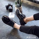 春季圓頭皮鞋男韓版潮流百搭鞋子男學生休閒青少年英倫黑色小皮鞋  -享家生活館