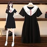 大尺碼短袖洋裝`胖mm大碼女裝翻領針織短袖撞色連身裙21022F085-A 胖妞衣櫥