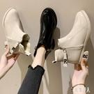 粗跟短靴瘦瘦靴漆皮短靴女粗跟2019秋冬季新款網紅百搭黑色及踝靴加絨裸靴 PA12921『紅袖伊人』
