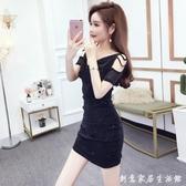 裙子女2020夏裝新款韓版時尚氣質高腰顯瘦性感網紗漏肩V領洋裝 中秋節全館免運