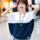 蝙蝠袖上衣 上衣夏季韓版大碼女裝寬鬆蝙蝠衫學生女士短袖T恤胖mm夏裝體恤潮 阿薩布魯