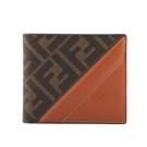 【FENDI】FF Monogram帆布拼皮革對開8卡短夾(咖啡色/紅棕色) 7M0169 AFB4 F1DZA