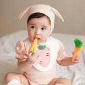 蘿蔔荷葉袖包屁衣+口水巾+帽子 三件組 包屁連身衣 遮陽帽 圍兜兜