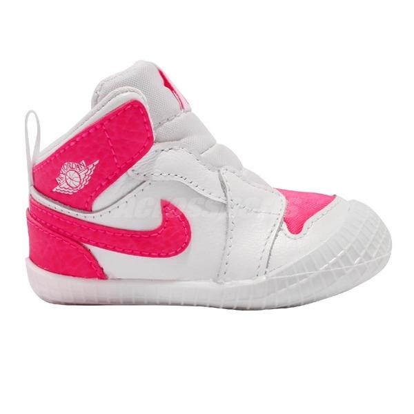 Nike 籃球鞋 Jordan 1 Crib Bootie 白 桃紅 童鞋 小童鞋 幼童 嬰兒 運動鞋【ACS】 AT3745-116