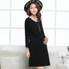 孕婦連身裙孕婦秋冬職業裝純棉上班工作服黑色中長款寬鬆顯瘦長袖連身裙 新品