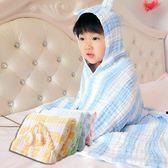 浴巾 六層紗布 超吸水 兒童 寶寶 帶帽浴巾 浴袍 披風 泡泡紗布 條紋款