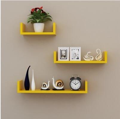 牆上置物架客廳牆壁掛牆面隔板擱臥室多層書架免打孔簡約現代裝飾【需要鉆孔、黃色三件套】