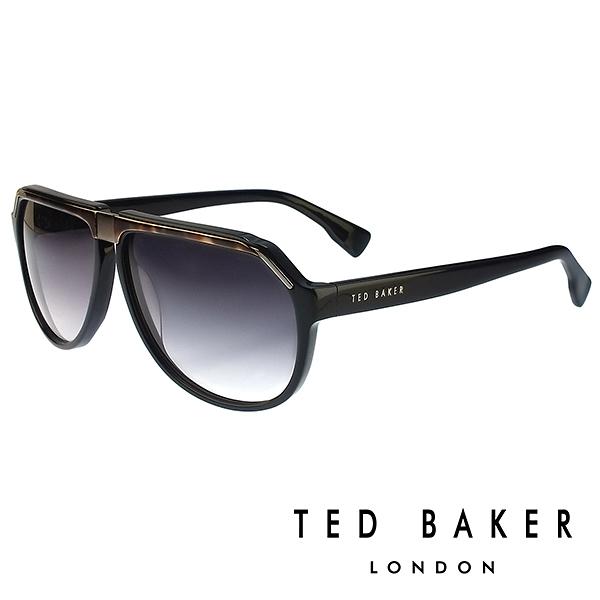 【南紡購物中心】TED BAKER 倫敦質感雅痞俏皮水滴型太陽眼鏡(黑) TB1239001