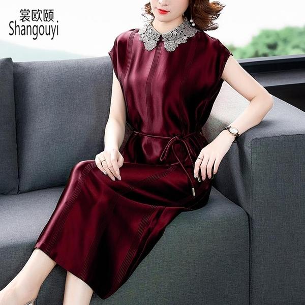 酒紅色洋裝 醋酸緞面連身裙夏女裝名媛氣質時尚真絲裙子年輕媽媽高貴-Ballet朵朵