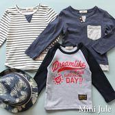 Mini Jule男童 上衣  條紋拼接假兩件/手肘星星黑白條紋/連袖棒球衣字母印花長袖T袖(共3款)