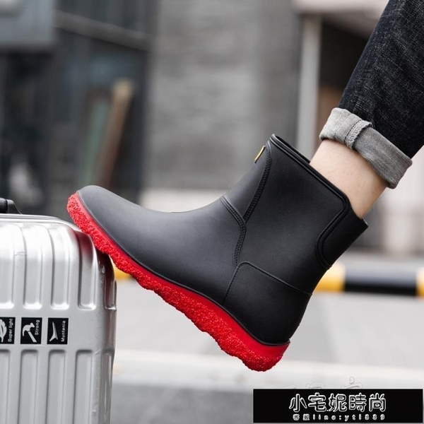 雨鞋 歐美時尚男雨鞋中筒雨靴防滑水鞋短筒加絨膠鞋廚房洗車釣魚工作鞋 小宅妮