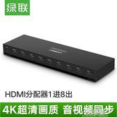 hdmi分配器1進8出一分八hdmi分屏器4k高清一拖八多屏擴展器1分8輸出8路 3C優購HM