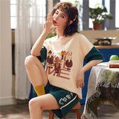 【預購款】居家服夏季新款睡衣套裝女短袖短褲甜美兩件套可外穿5001#【時尚潮流部落】