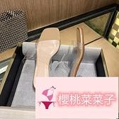 水晶中跟粗跟涼拖鞋涼鞋女平底夏季時裝【櫻桃菜菜子】