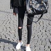 高腰爛牛仔褲女破洞九分2021秋季新款韓版顯瘦緊身黑色乞丐小腳褲 米娜小鋪