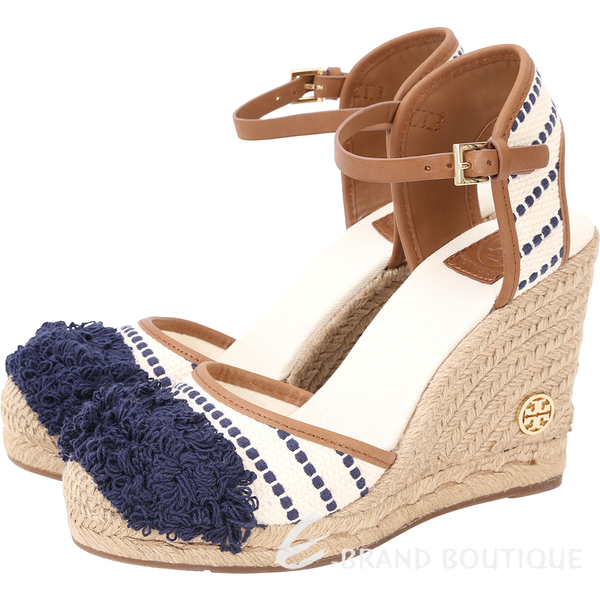 TORY BURCH Shaw Wedge 繡花條紋手工草編楔型鞋(藍色) 1720375-03