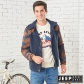【JEEP】型男迷彩保暖休閒連帽外套 (深藍)