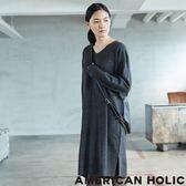 ❖ Winter ❖ 素面落肩V領針織連衣裙 - AMERICAN HOLIC