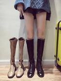 長靴過膝女冬季新款英倫風學生百搭機車騎士靴 萬客居