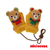 MIKI HOUSE 可愛普奇熊立體保暖手套(黃)