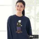 【JEEP】北極熊圖騰長袖T恤-深藍