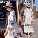 罩衫 度假沙灘防曬衣女裝民族風刺繡披肩外套復古中長款流蘇開衫 傾城小鋪