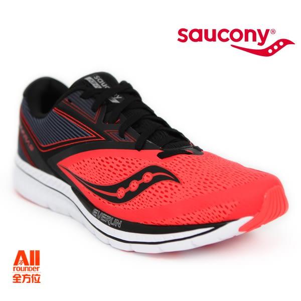 【Saucony】男款慢跑鞋 KINVARA 9 輕量系列 -橘紅黑(2041835)全方位跑步概念館