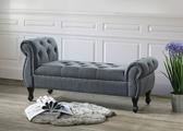 【森可家居】Edward深灰布床尾椅 8JF11226 沙發椅凳 長凳 穿鞋椅 玄關椅 經典美式拉扣