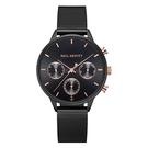 【台南 時代鐘錶 PAUL HEWITT】PH002811 德國 Everpulse 三眼計時腕錶 黑 玫瑰金 米蘭錶帶 38mm