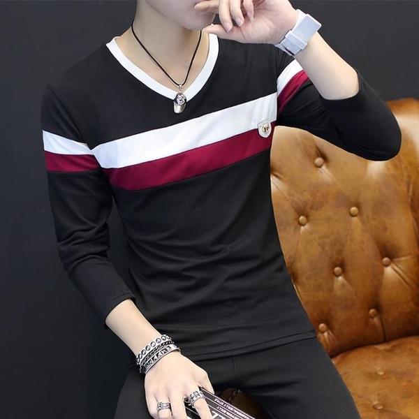 [超豐國際]長袖t恤男士韓版修身型青少年9.9白色打底衫