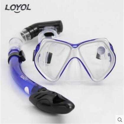 成人潛水鏡 浮潛三寶全乾式呼吸管套裝【銀框藍色款M1526+S14套裝】